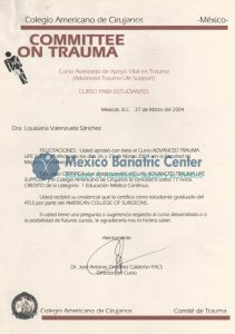 Dr Valenzuela - Certificate Committee on Trauma