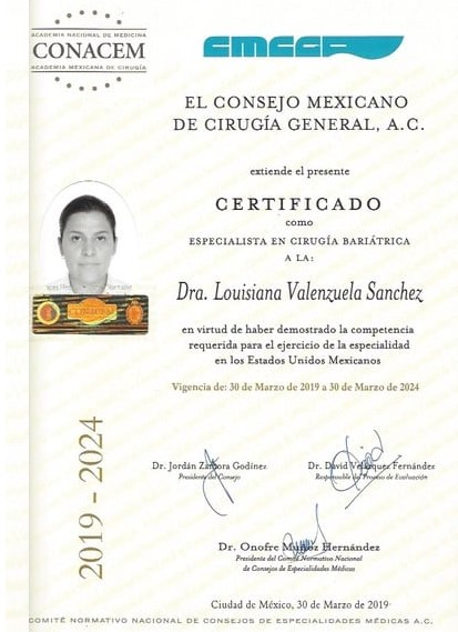 Dr. Louisiana Valenzuela - Board Certification in Bariatric and Metabolic Surgery