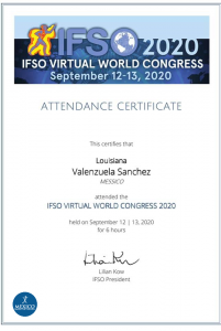 dr louisiana valenzuela IFSO 2020 certificate