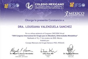dr louisiana valenzuela IFSO 2020 certificate Mexican college of surgeons